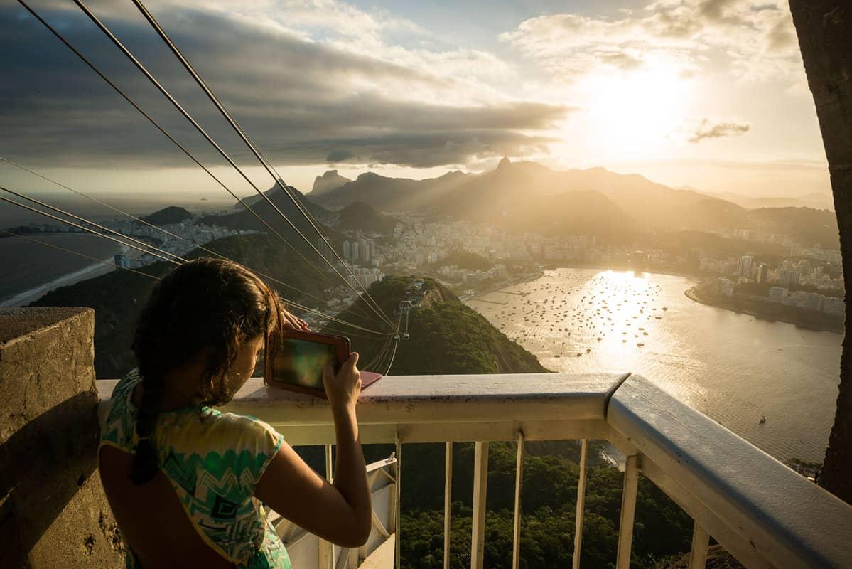 View from Pão de Açucar (Sugarloaf Mountain) at dusk, Rio de Janeiro, Brazil