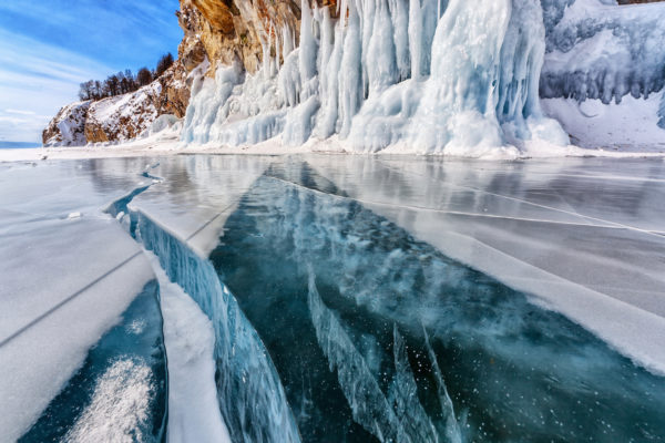 Deep crack through glacier