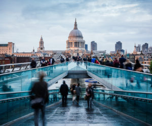 View from Millennium Bridge towards St Paul's Cathedral, London, England, UK