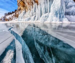 Deep crack through glacier
