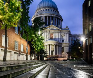 Exterior of St Paul's Cathedral at night, London, England, UK